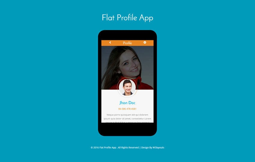 Flat Profile App A Mobile App Flat Bootstrap Responsive Web Template Mobile website template Free
