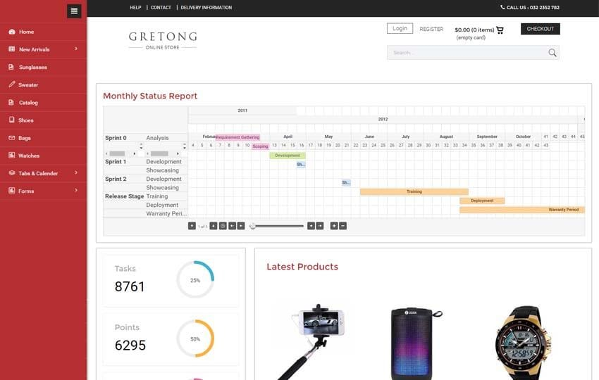 Gretong E commerce Flat Bootstrap Responsive Admin Panel Mobile website template Free