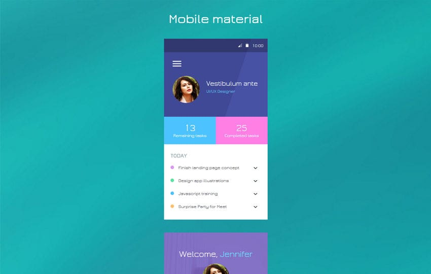 Mobile material Flat Responsive Widget Template Mobile website template Free