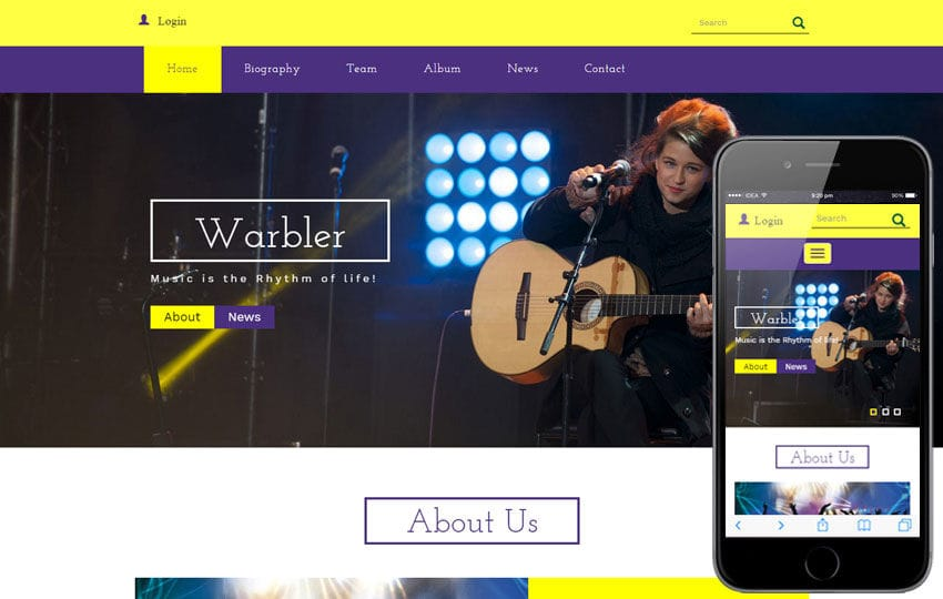 Warbler a Music Category Flat Bootstrap Responsive Web Template Mobile website template Free