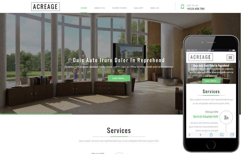 Acreage a Real Estate Flat Bootstrap Responsive Web Template Mobile website template Free