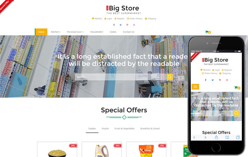 Big store an E-commerce Online Shopping Bootstrap Responsive Web Template Mobile website template Free