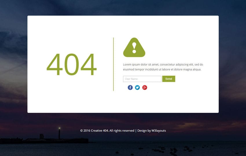 Creative 404 Responsive Error Widget Template Mobile website template Free
