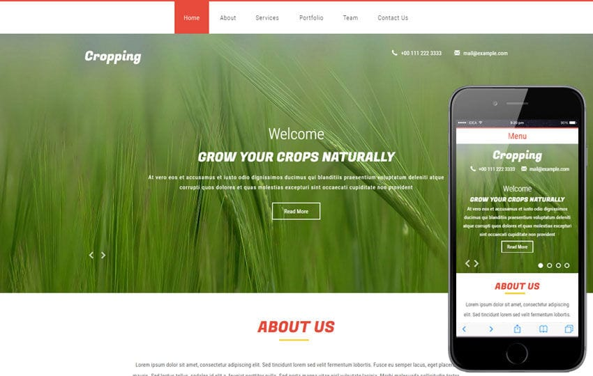 Cropping a Agriculture Flat Bootstrap Responsive web Template Mobile website template Free