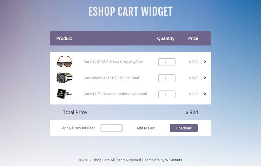 E Shop Cart Widget A Flat Responsive Widget Template