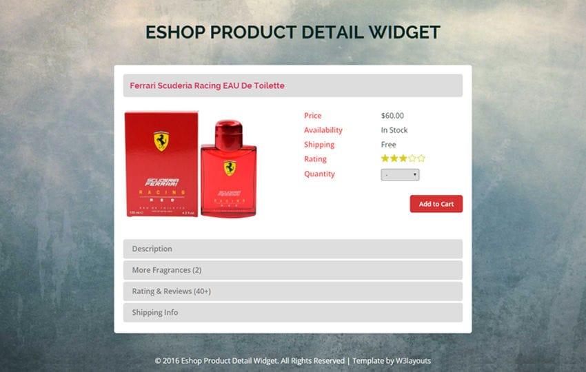 E Shop Product Details Widget A Flat Responsive Widget Template Mobile website template Free