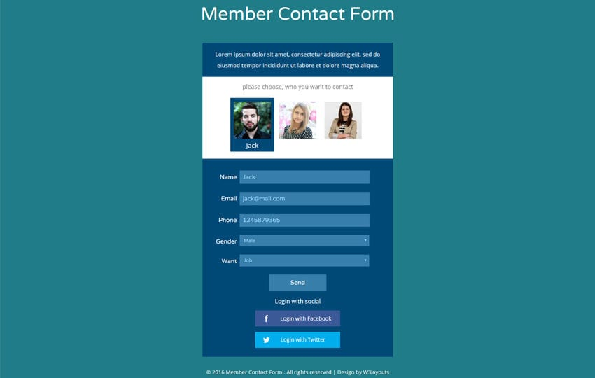 Member Contact Form Flat Responsive Widget Template Mobile website template Free