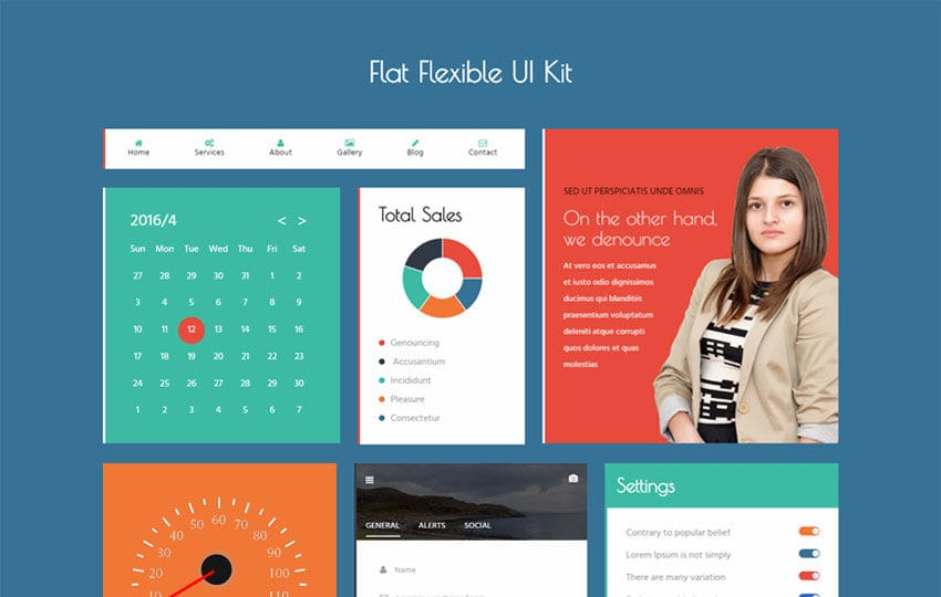 Flat Flexible UI Kit Flat Bootstrap responsive Web Template Mobile website template Free