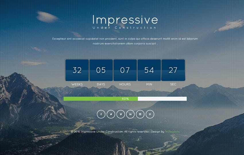 Impressive Under Construction Flat Responsive Widget Template Mobile website template Free