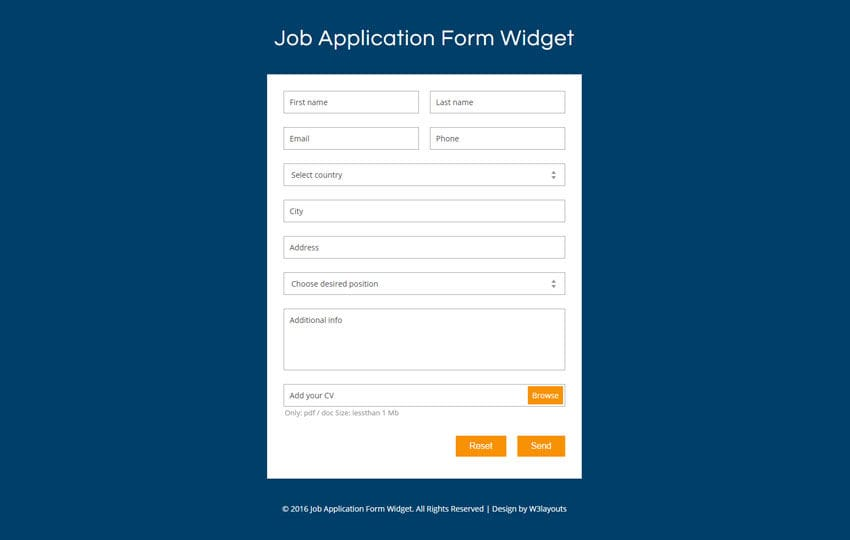 Job Application Form Widget Flat Responsive Widget Template