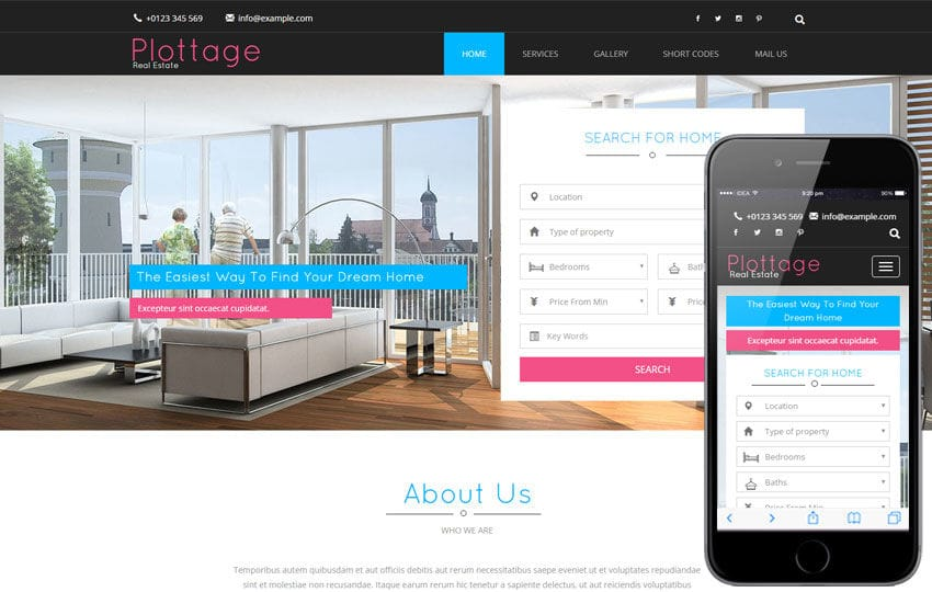Plottage a Real Estate Flat Bootstrap Responsive Web Template Mobile website template Free