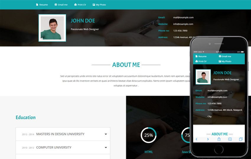 Resume a Personal Category Flat Bootstrap Responsive Web Template Mobile website template Free