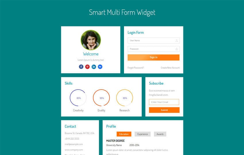 Smart Multi Form Widget Flat Responsive Widget Template