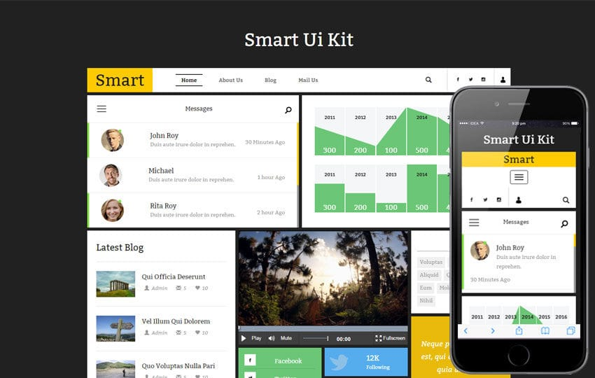 Smart Ui Kit a Flat Bootstrap Responsive Web Template Mobile website template Free