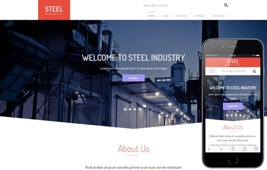 Steel Industry a Industrial Flat Bootstrap Responsive web Template Mobile website template Free