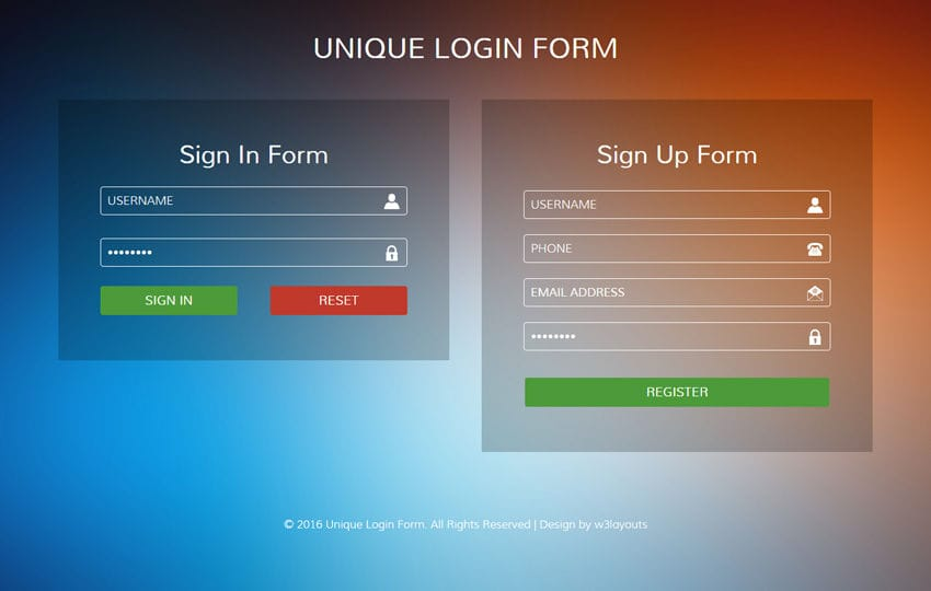 Unique Login Form Flat Responsive widget Template Mobile website template Free