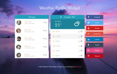 Weather Profile Widget Flat Responsive Widget Template