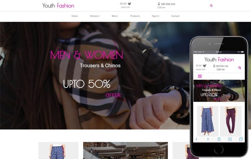 Youth Fashion A Ecommerce Flat Bootstrap Responsive Web Template Mobile website template Free
