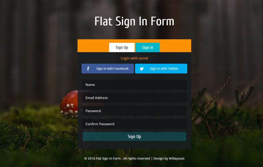 Flat Sign In Form Responsive Widget Template