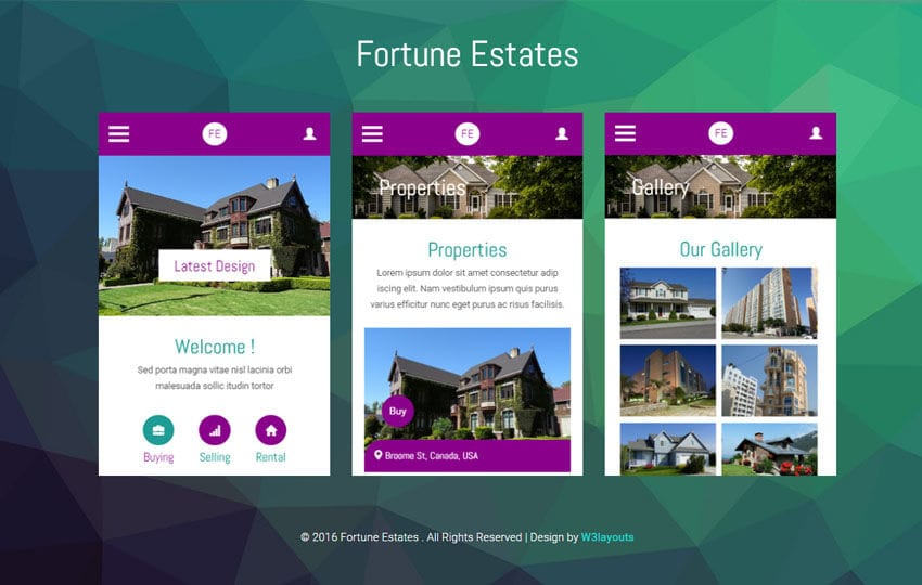 Fortune Estates a Mobile App Flat Bootstrap Responsive Web Template Mobile website template Free