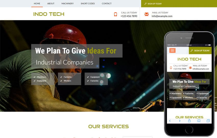 Indo Tech a Industrial Category Flat Bootstrap Responsive Web Template