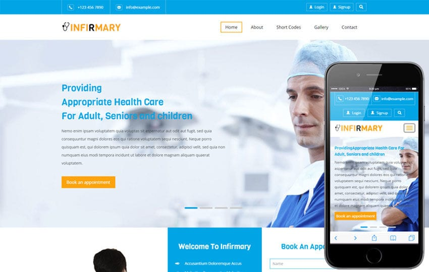 Infirmary a Medical Category Flat Bootstrap Responsive Web Template Mobile website template Free