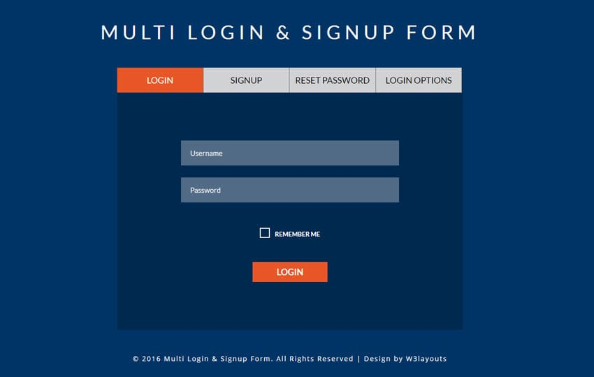 Multi Login & Signup Form A Flat Responsive Widget Template Mobile website template Free
