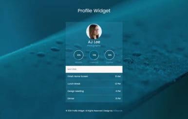 Profile Widget Flat Responsive Widget Template