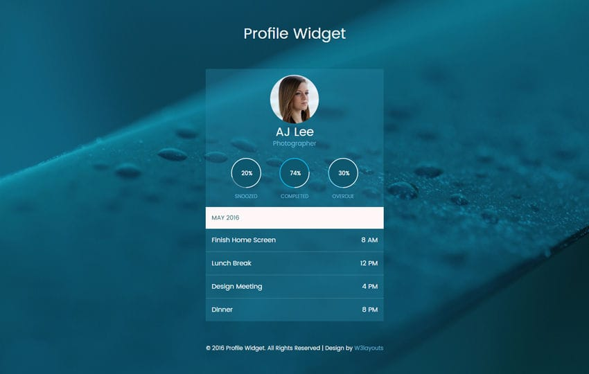 Profile Widget Flat Responsive Widget Template Mobile website template Free