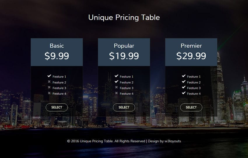 Unique Pricing Table Flat Responsive widget Template Mobile website template Free