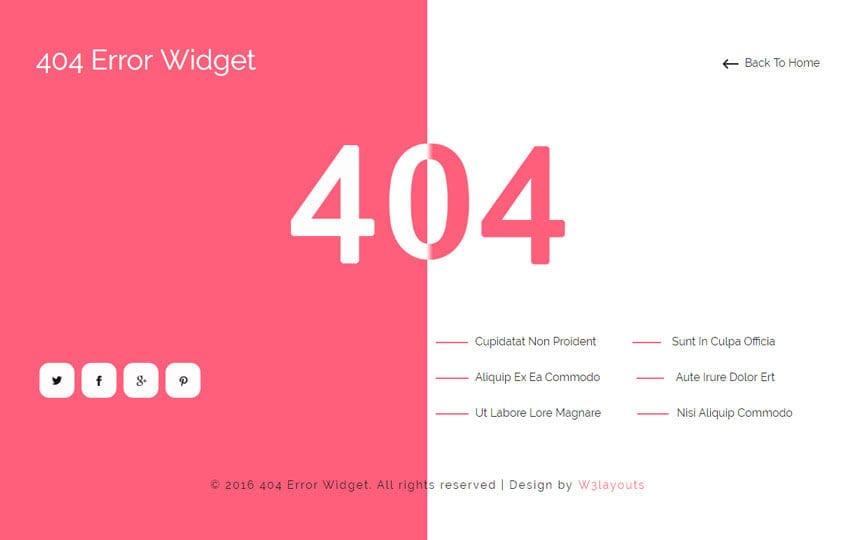 404 Error Widget Flat Responsive Widget Template