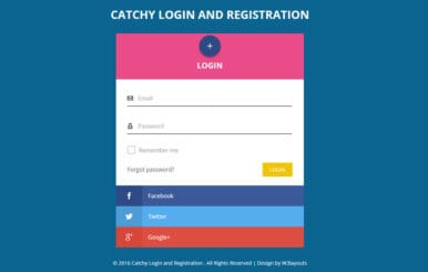 Catchy Login and Registration Flat Responsive Widget Template