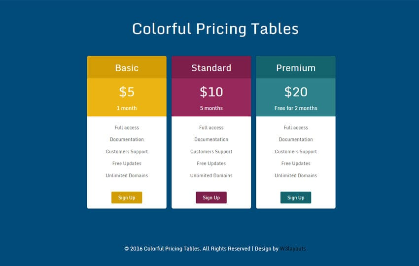 Colorful Pricing Tables Widget Flat Responsive Widget Template Mobile website template Free