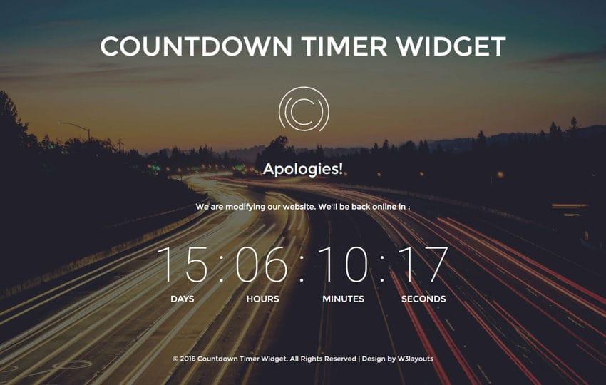Countdown Timer Widget A Flat Responsive Widget Template Mobile website template Free