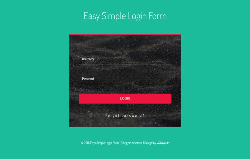 Easy Simple Login Form Flat Responsive Widget Template