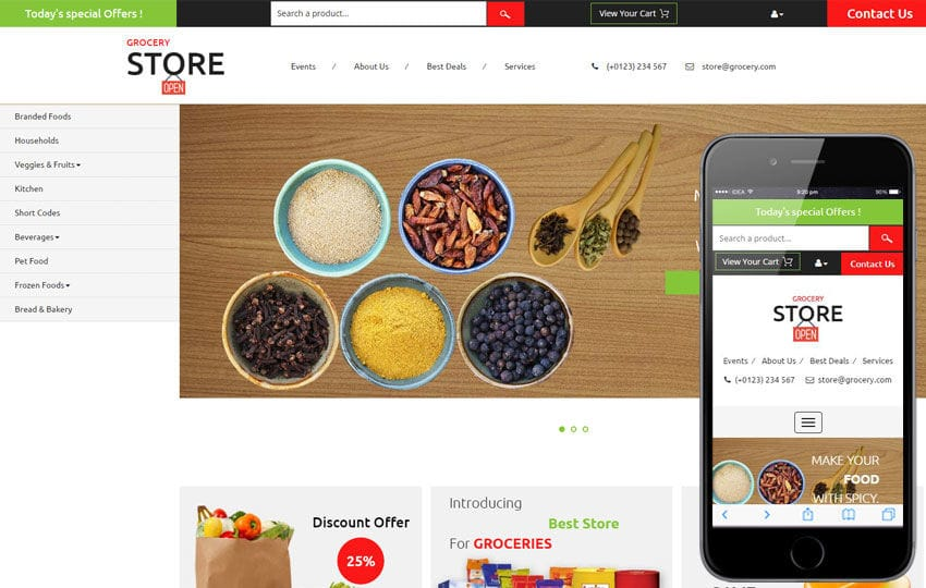 Grocery Store – Ecommerce Category Flat Bootstrap Responsive Website Template Mobile website template Free