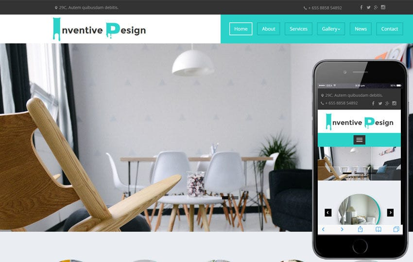 Inventive Design a Interior Category Flat Bootstrap Responsive Web Template Mobile website template Free