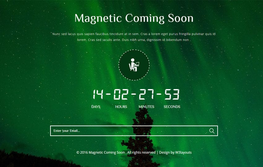 Magnetic Coming Soon Flat Responsive Widget Mobile website template Free