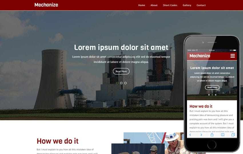 Mechanize an Industrial Flat Bootstrap Responsive  Web Template Mobile website template Free