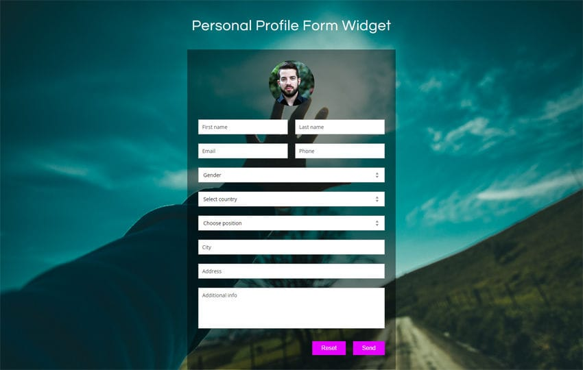 Personal Profile Form Widget Flat Responsive Widget Template Mobile website template Free