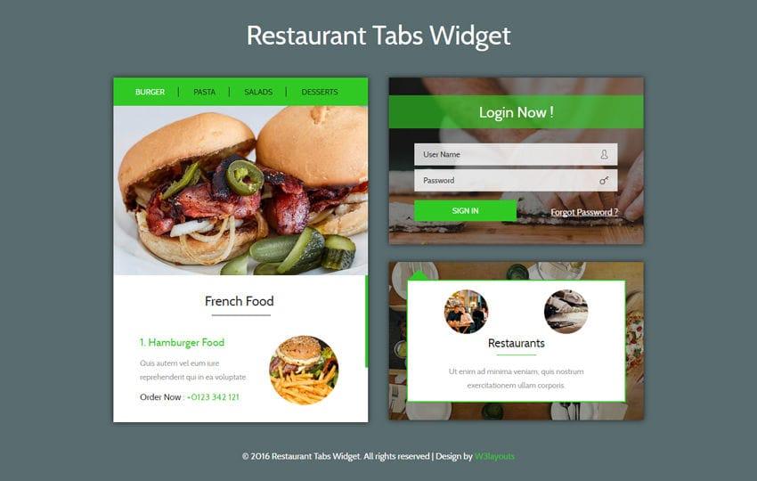 Restaurant Tabs Widget Flat Responsive Widget Template