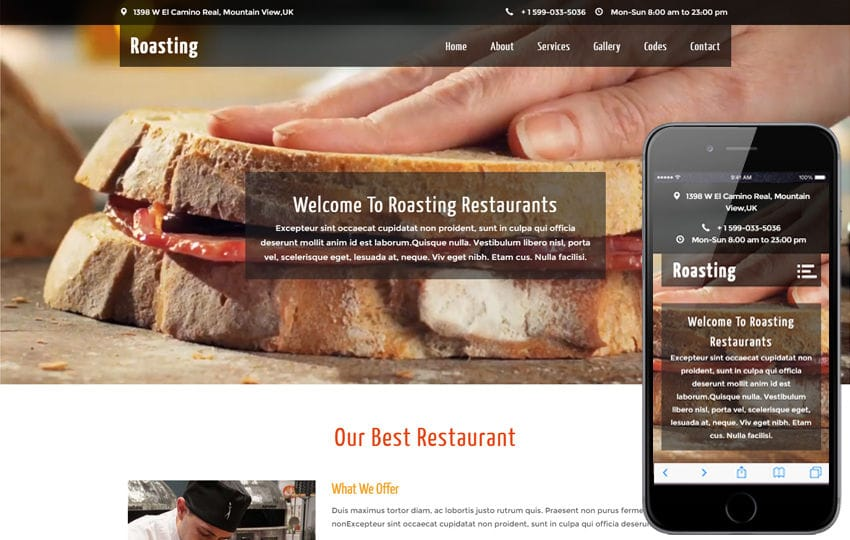 Roasting a Restaurant Category Flat Bootstrap Responsive web Template Mobile website template Free