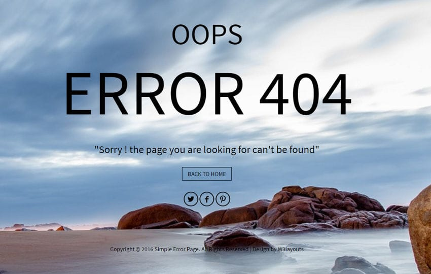 Simple Error Page a Flat Responsive Widget Template
