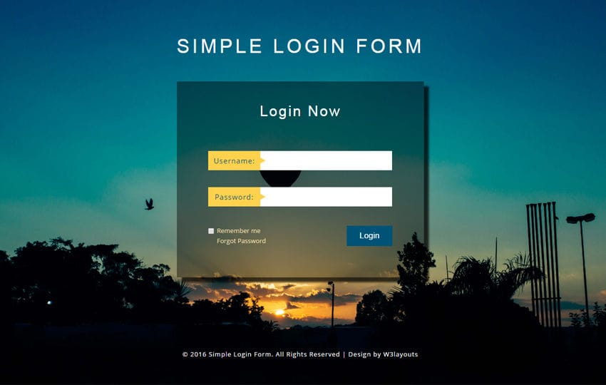 Simple Login Form a Flat Responsive Widget Template Mobile website template Free