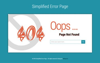 Simplified Error Page Flat Responsive Widget Template