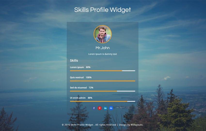 Skills Profile Widget Flat Responsive Widget Template Mobile website template Free
