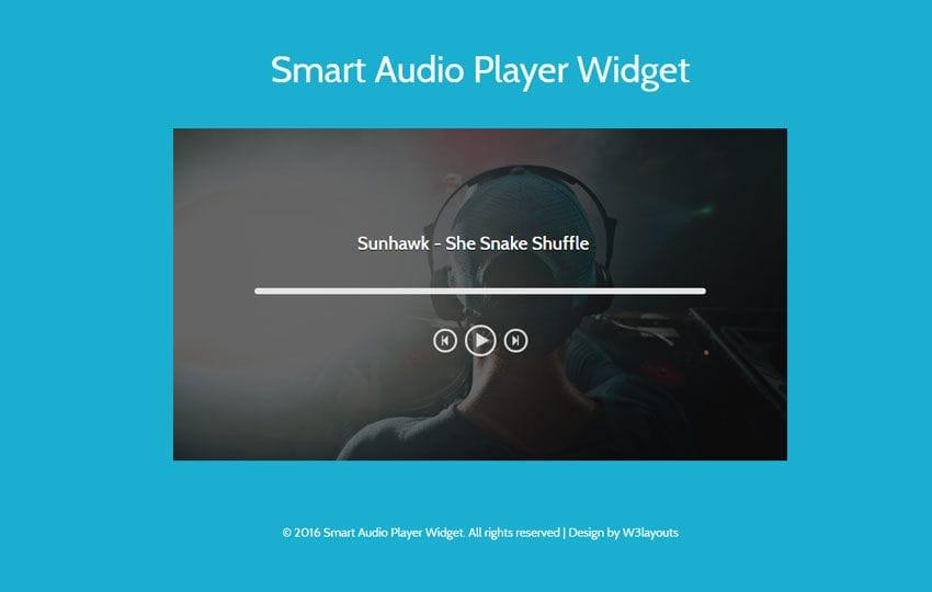 Smart Audio Player Widget Flat Responsive Widget Template Mobile website template Free