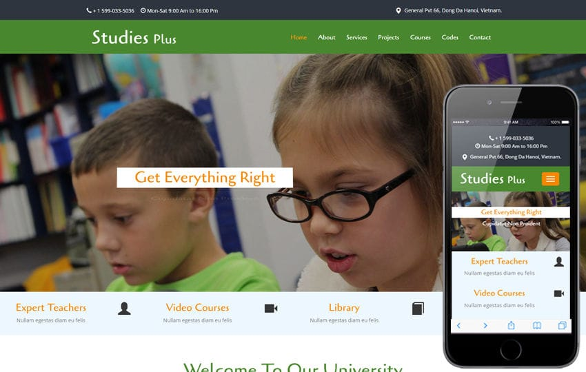 Studies Plus An Education Category Flat Bootstrap Responsive Web Template Mobile website template Free