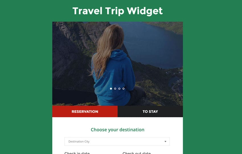 Travel Trip Widget Responsive Widget Template Mobile website template Free