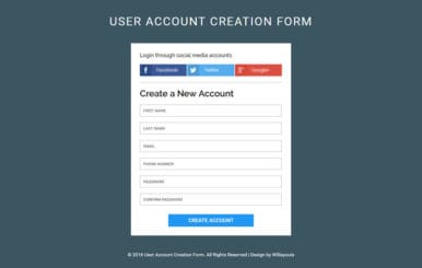 User Account Creation Form A Flat Responsive Widget Template